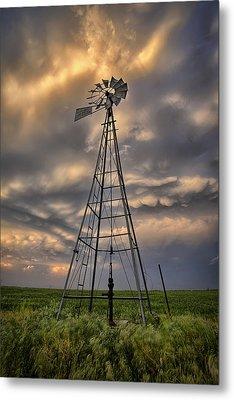 Windmill Storm Metal Print by Thomas Zimmerman
