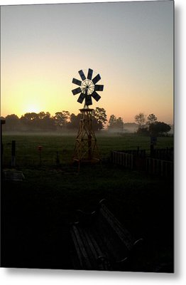 Windmill Sunrise Metal Print