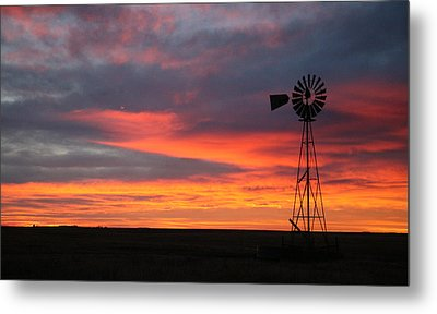 Windmill Sunrise Metal Print by Shirley Heier