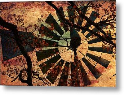 Windmill Through The Oak Metal Print
