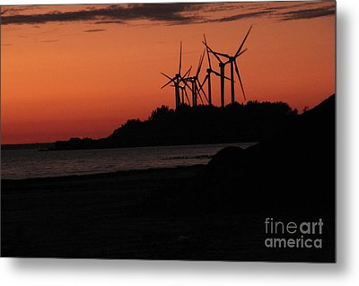 Metal Print featuring the photograph Windmills At Sunset by Jim Lepard