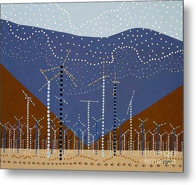 Windmills Of The Coachella Valley Metal Print by Linda Wolf