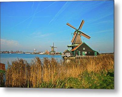 Windmills On De Zaan Metal Print by Jonah  Anderson