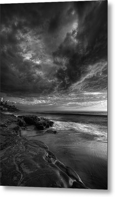 Windnsea Stormy Sky Bw Metal Print by Peter Tellone