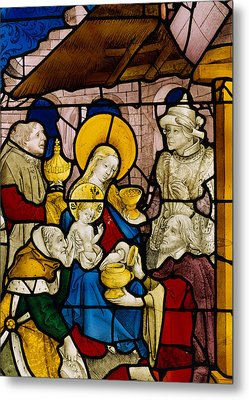 Window Depicting The Adoration Of The Kings Metal Print by Flemish School