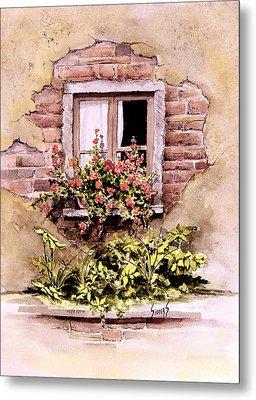 Window Flowers Metal Print by Sam Sidders
