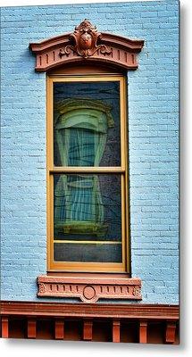 Window In Window In Red Bank Metal Print by Gary Slawsky