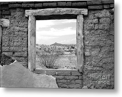 Window Onto Big Bend Desert Southwest Black And White Metal Print