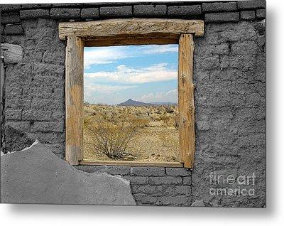 Window Onto Big Bend Desert Southwest Color Splash Black And White Metal Print by Shawn O'Brien