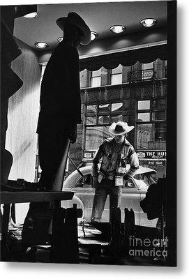 Window Shopping Cowboy Metal Print by Photo Researchers