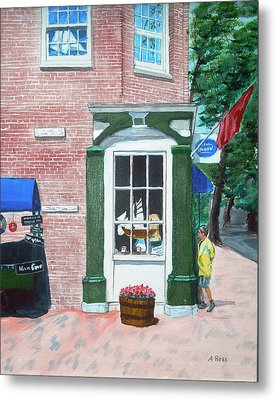 Window Shopping Newburyport Metal Print by Anthony Ross
