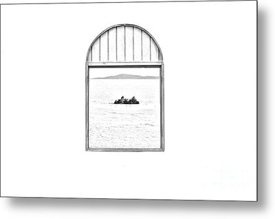 Window View Of Desert Island Puerto Rico Prints Black And White Line Art Metal Print by Shawn O'Brien
