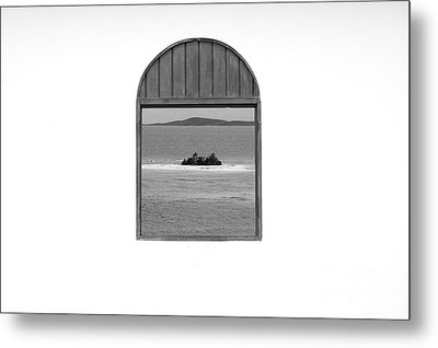 Window View Of Desert Island Puerto Rico Prints Black And White Metal Print