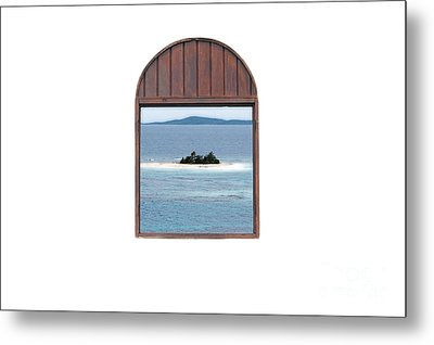 Window View Of Desert Island Puerto Rico Prints Diffuse Glow Metal Print by Shawn O'Brien