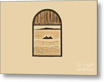 Window View Of Desert Island Puerto Rico Prints Rustic Metal Print by Shawn O'Brien