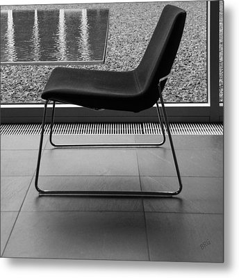 Window View With Chair In Black And White Metal Print by Ben and Raisa Gertsberg
