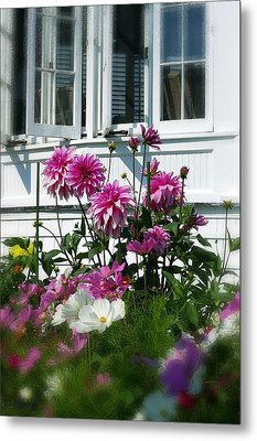 Metal Print featuring the photograph Windows And Flowers by Randy Pollard
