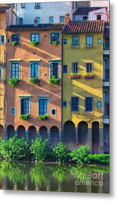 Windows On The River Arno Metal Print by Nicola Fiscarelli