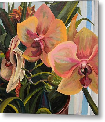 Windowsill Orchids Metal Print by Trina Teele