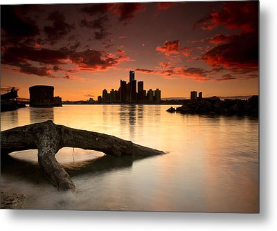 Windsor And Detroit Sunset Metal Print