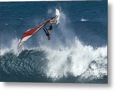 Windsurfer Hanging In Metal Print by Bob Christopher