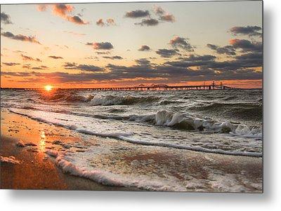 Windy Chesapeake Bay Bridge Sunset Metal Print