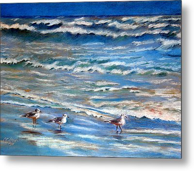 Windy Day At The Gulf    Pastel    Metal Print