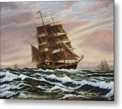 Metal Print featuring the painting Windy Voyage by Rick Fitzsimons