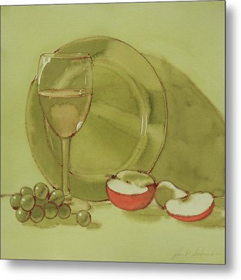 Wine And Apple Metal Print