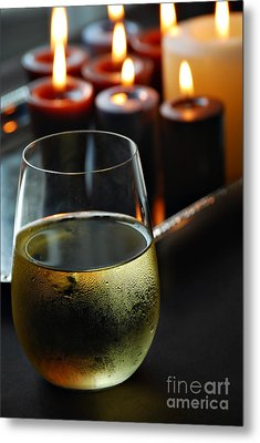 Wine And Candles Metal Print