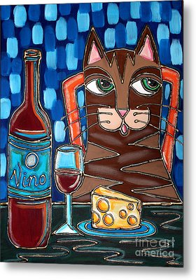 Wine And Cheese Cat Metal Print by Cynthia Snyder