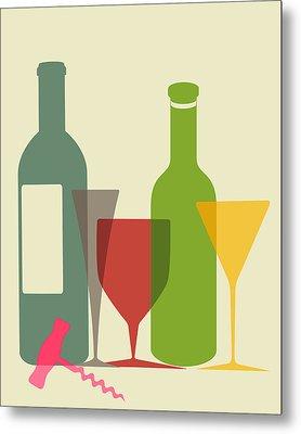 Wine And Dine Metal Print by Ramneek Narang