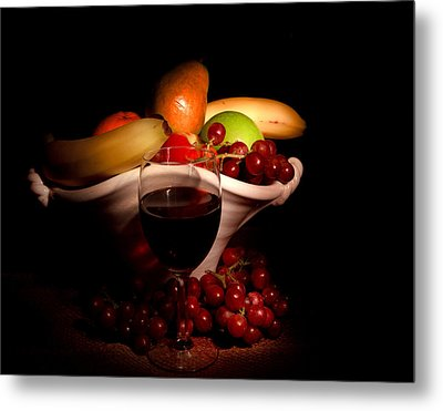 Wine And Fruit Metal Print by Cecil Fuselier