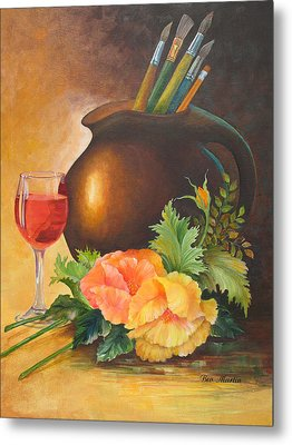 Wine And Poppies Metal Print by Beverly Martin