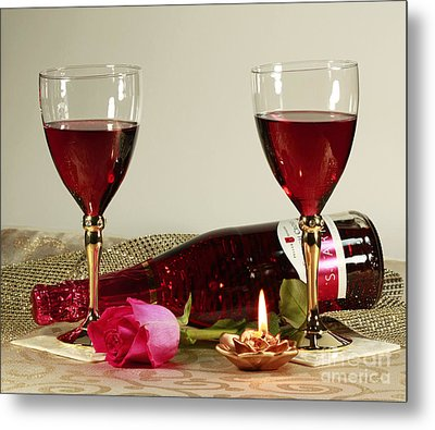 Wine And Rose By Candlelight Metal Print