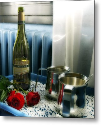 Red Roses And Chardonay Bottle Metal Print