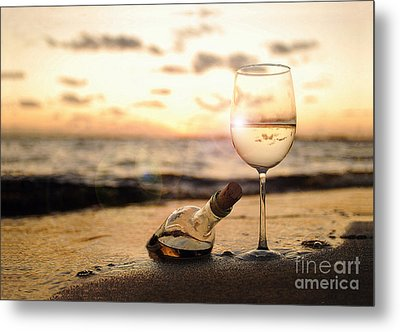 Wine And Sunset Metal Print
