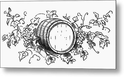 Wine Barrel Among Grapes And Vine Leaves (illustration) Metal Print