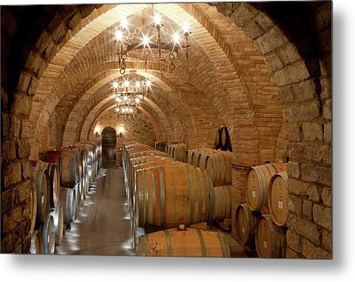 Wine Barrels In A Winery Metal Print