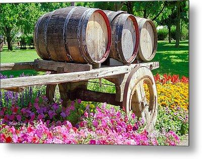 Wine Barrels In Spring At V Sattui Winery Metal Print by Michelle Wiarda