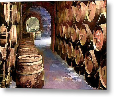 Wine Barrels In The Wine Cellar Metal Print by Elaine Plesser