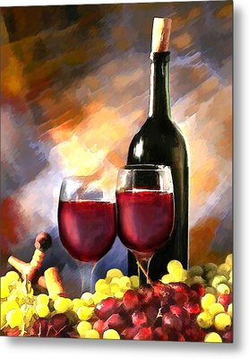 Wine Before And After Metal Print by Elaine Plesser