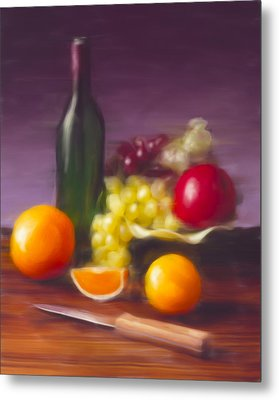 Wine Bottle And Fruit Metal Print