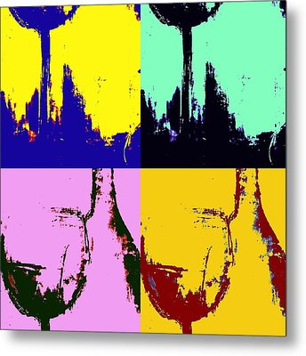 Wine Bottle And Glass Metal Print by Brad Walters