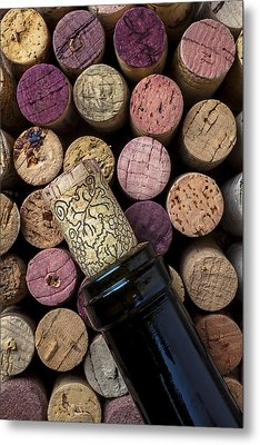 Wine Bottle With Corks Metal Print by Garry Gay