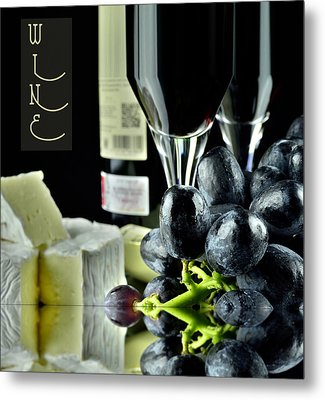 Wine Bottle With Glass Metal Print