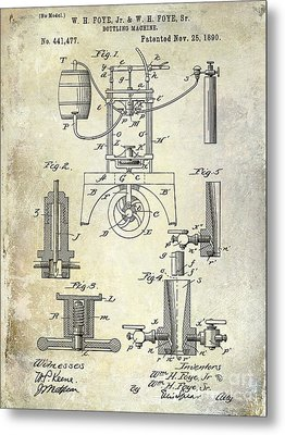 1890 Wine Bottling Machine Metal Print by Jon Neidert