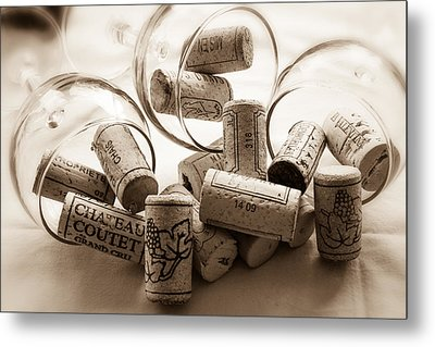 Wine Corks And Wine Glasses Toned Metal Print