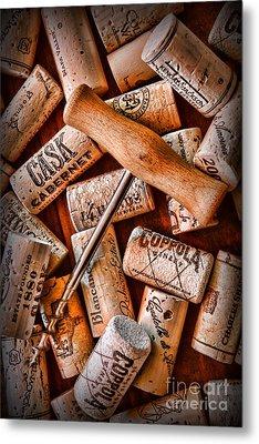Wine Corks With Corkscrew Metal Print by Paul Ward