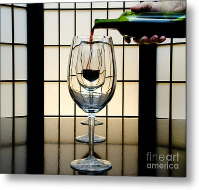 Wine For Three Metal Print by John Debar